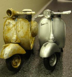 epave scooter de marque vespa